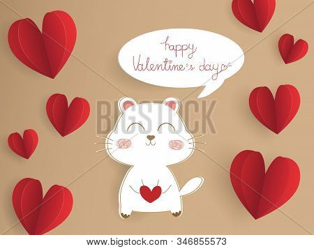 Beautiful Valentines Day Card On Brown Background. Valentine Paper Cut Red Heart With Cute Dog And T