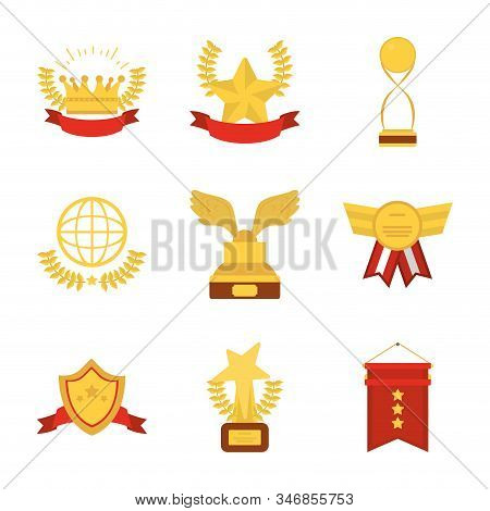 Gold Icon Set Design, Winner First Position Competition Success Sport Best Leadership Compete And Ch