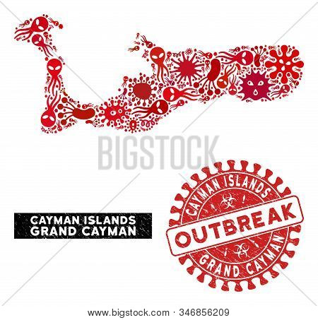 Flu Collage Grand Cayman Island Map And Red Distressed Stamp Watermark With Outbreak Caption. Grand