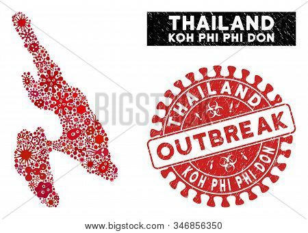 Pandemic Mosaic Koh Phi Don Map And Red Corroded Stamp Seal With Outbreak Badge. Koh Phi Don Map Col