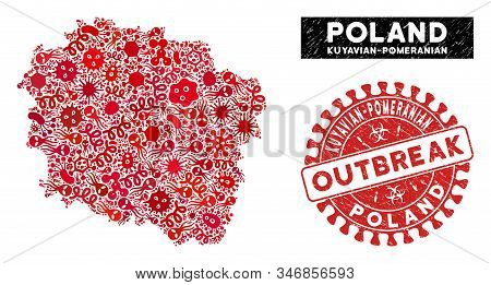 Outbreak Collage Kuyavian-pomeranian Voivodeship Map And Red Corroded Stamp Watermark With Outbreak
