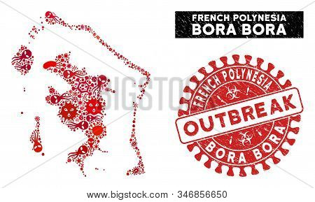 Viral Collage Bora-bora Map And Red Grunge Stamp Seal With Outbreak Caption. Bora-bora Map Collage F