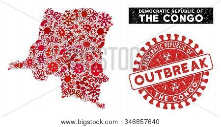Pathogen Mosaic Democratic Republic Of The Congo Map And Red Corroded Stamp Watermark With Outbreak