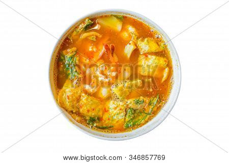 Acacia Omelets And Fresh Shrimp In Vegetable Sour Soup Isolated On White Background. Deep Fried Cha