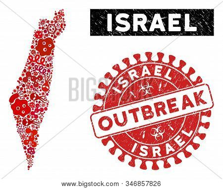 Infectious Collage Israel Map And Red Grunge Stamp Seal With Outbreak Words. Israel Map Collage Desi