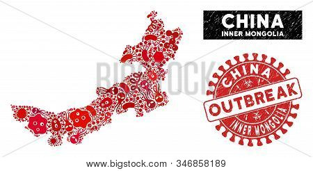Virus Collage Inner Mongolia Map And Red Corroded Stamp Watermark With Outbreak Words. Inner Mongoli