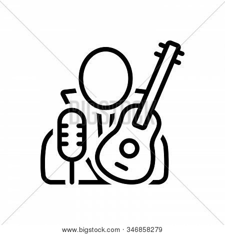 Black Line Icon For Necrophagist Musician Composer Melodist Singer Instrument Playing