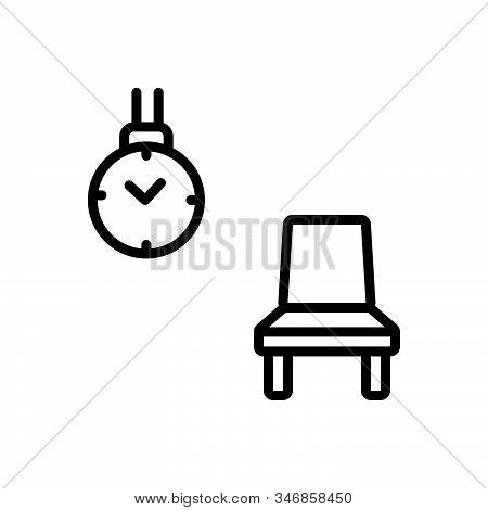 Black Line Icon For Wait Outwait Room Chair Clock Delay Timepiece
