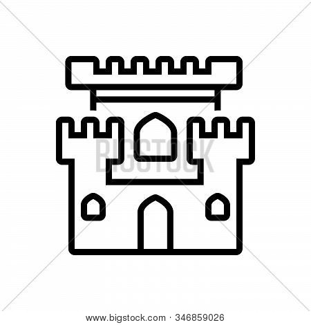 Black Line Icon For Castle Chateau Mansion Stronghold Citadel Flanker Castle