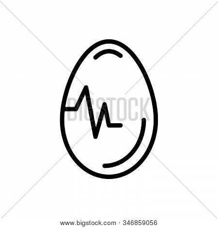 Black Line Icon For Egg Testicle Oval Food Breakfast Ingredient