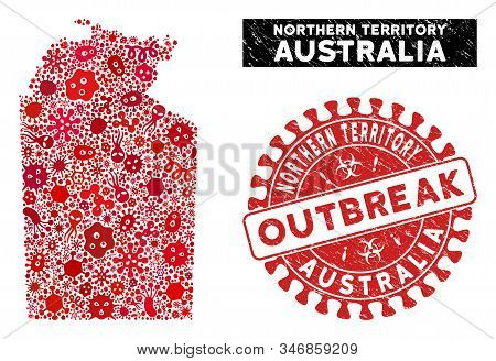 Outbreak Mosaic Australian Northern Territory Map And Red Grunge Stamp Watermark With Outbreak Phras