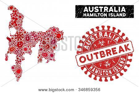 Outbreak Mosaic Hamilton Island Map And Red Grunge Stamp Watermark With Outbreak Message. Hamilton I