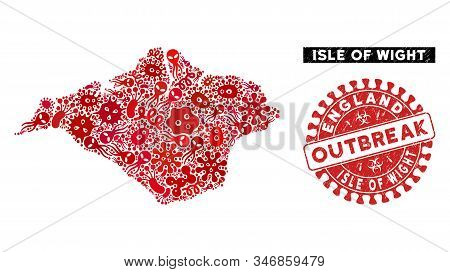 Viral Collage Isle Of Wight Map And Red Distressed Stamp Seal With Outbreak Badge. Isle Of Wight Map