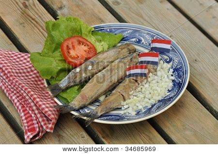 Herring fillets on plate