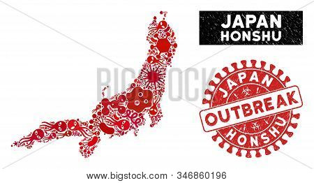 Pathogen Collage Honshu Island Map And Red Corroded Stamp Seal With Outbreak Caption. Honshu Island