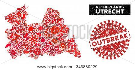 Virus Collage Utrecht Province Map And Red Rubber Stamp Watermark With Outbreak Message. Utrecht Pro