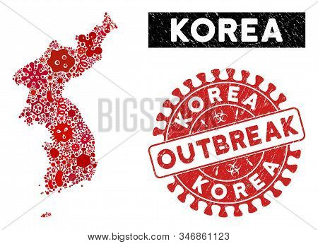 Contagion Collage Korea Map And Red Grunge Stamp Seal With Outbreak Message. Korea Map Collage Const