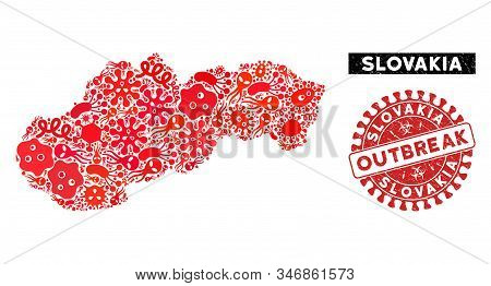 Contagion Collage Slovakia Map And Red Rubber Stamp Watermark With Outbreak Words. Slovakia Map Coll