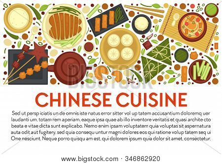 Chinese Cuisine Banner Template With Traditional Dishes Layout And Text