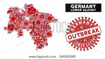 Fever Collage Lower Saxony Land Map And Red Grunge Stamp Seal With Outbreak Badge. Lower Saxony Land