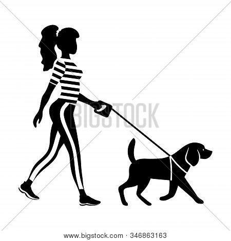 Woman Walking Her Dog Silhouette. Slender Young Girl With Pet. Black Figure With White Details. Prof