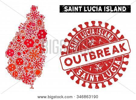 Viral Collage Saint Lucia Island Map And Red Grunge Stamp Watermark With Outbreak Words. Saint Lucia
