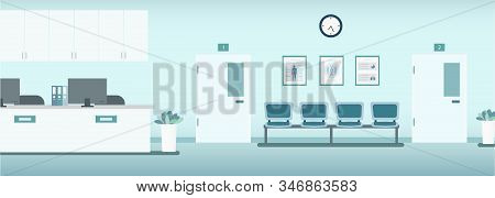 Hospital Interior With Counter And Waiting Area Vector Illustration
