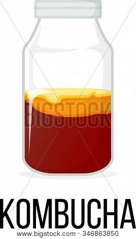 Kombucha. Healthy Food Style, Concept Icon And Label. Natural Probiotics Symbol, Icon And Badge. Car
