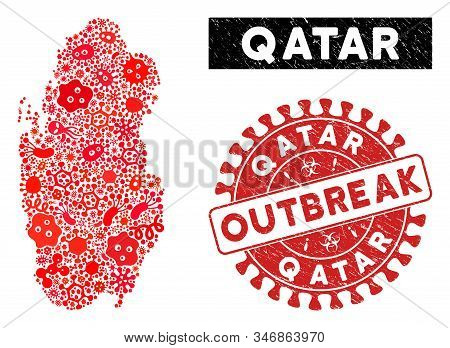 Epidemic Collage Qatar Map And Red Corroded Stamp Seal With Outbreak Message. Qatar Map Collage Cons