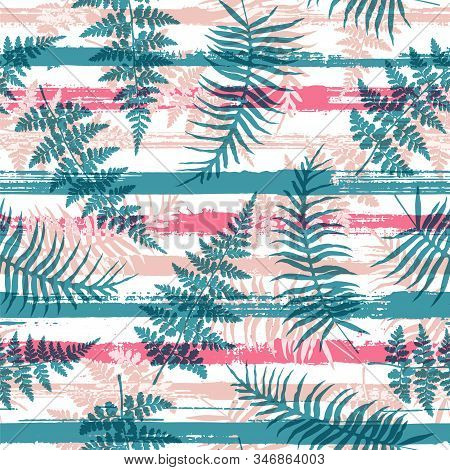 Cute New Zealand Fern Frond And Bracken Grass Overlapping Stripes Vector Seamless Pattern. Madagasca