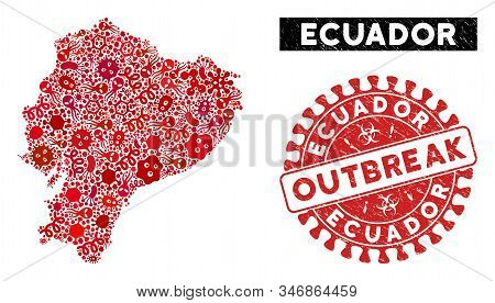 Viral Collage Ecuador Map And Red Corroded Stamp Seal With Outbreak Text. Ecuador Map Collage Constr