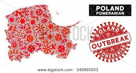 Fever Collage Pomeranian Voivodeship Map And Red Corroded Stamp Seal With Outbreak Phrase. Pomerania