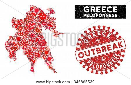 Contagion Collage Peloponnese Peninsula Map And Red Grunge Stamp Watermark With Outbreak Words. Pelo
