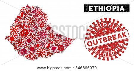 Outbreak Mosaic Ethiopia Map And Red Grunge Stamp Watermark With Outbreak Badge. Ethiopia Map Collag