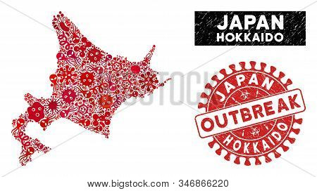 Contagion Collage Hokkaido Island Map And Red Grunge Stamp Watermark With Outbreak Text. Hokkaido Is