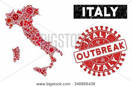 Epidemic Collage Italy Map And Red Grunge Stamp Watermark With Outbreak Message. Italy Map Collage D