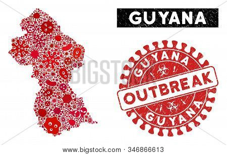 Infection Mosaic Guyana Map And Red Grunge Stamp Seal With Outbreak Message. Guyana Map Collage Comp