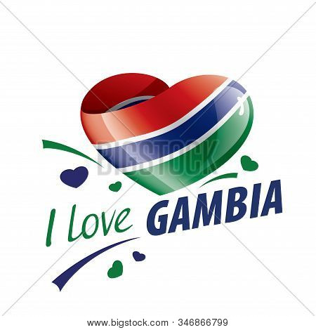 National Flag Of The Gambia In The Shape Of A Heart And The Inscription I Love Gambia. Vector Illust