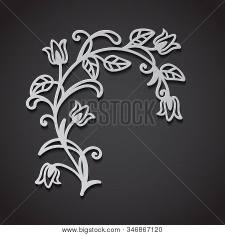 Laser Cut Template Of Floral Branch. Spring Flowers And Leaves In 3D White Paper Style. Cut Abstract