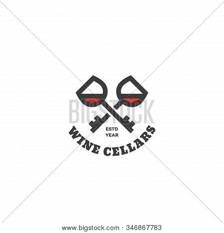 Wine Cellars Logo Design Template With Two Crossed Keys. Vector Illustration.