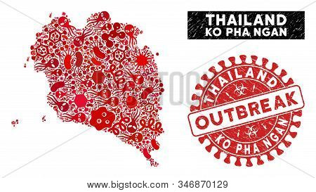 Contagious Collage Ko Pha Ngan Map And Red Grunge Stamp Seal With Outbreak Badge. Ko Pha Ngan Map Co