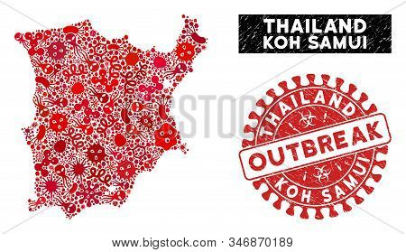 Outbreak Collage Koh Samui Map And Red Distressed Stamp Seal With Outbreak Words. Koh Samui Map Coll