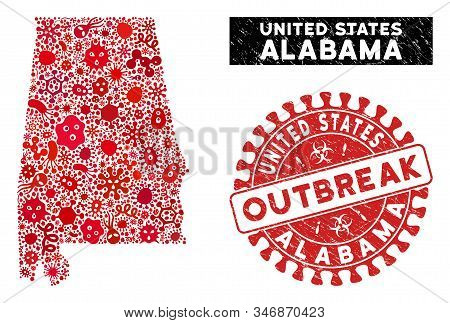 Contagion Collage Alabama State Map And Red Distressed Stamp Watermark With Outbreak Message. Alabam