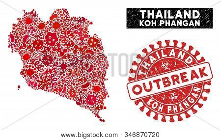 Pathogen Collage Koh Phangan Thai Island Map And Red Rubber Stamp Watermark With Outbreak Badge. Koh
