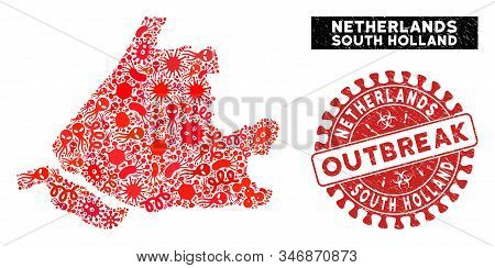 Infectious Mosaic South Holland Map And Red Rubber Stamp Watermark With Outbreak Words. South Hollan