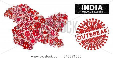 Fever Collage Jammu And Kashmir State Map And Red Rubber Stamp Seal With Outbreak Phrase. Jammu And