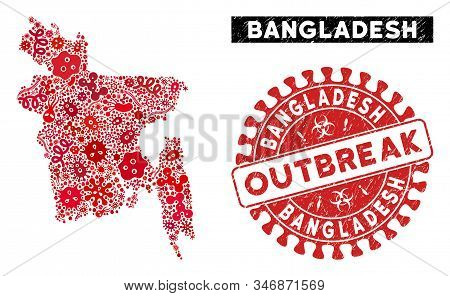 Infected Mosaic Bangladesh Map And Red Rubber Stamp Seal With Outbreak Text. Bangladesh Map Collage