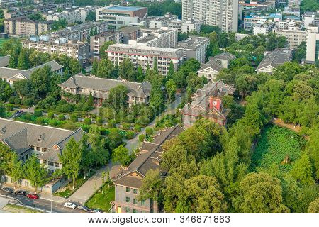 Chengdu, Sichuan Province, China - May 27, 2017 : Sichuan University Huaxi Campus Aerial View