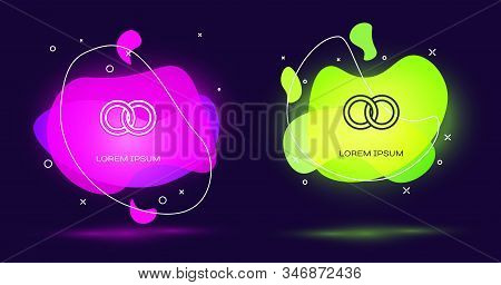 Line Wedding Rings Icon Isolated On Black Background. Bride And Groom Jewelery Sign. Marriage Icon.
