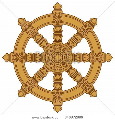 Chakra Buddhism Wheel Of Dharma Holy Wooden    Illustration